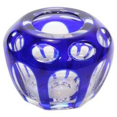 Vintage Bohemian Cobalt Blue Cut to Clear Crystal Votive Candle Holder