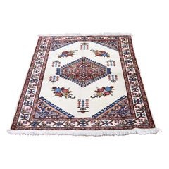 Vintage Bohemian Karabakh Pure Wool Ivory Hand Knotted Oriental Rug