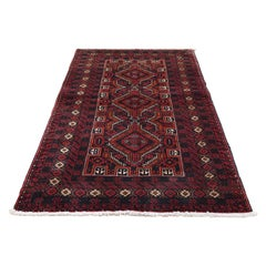 Vintage Bohemian Persian Baluch Pure Wool Red Hand Knotted Oriental Rug
