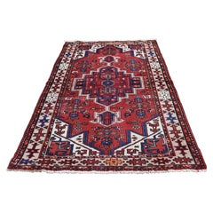 Vintage Bohemian Persian Hamadan with Birds Red Pure Wool Hand Knotted Oriental
