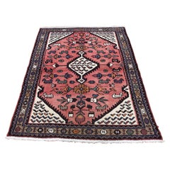 Vintage Bohemian Persian Hamadan with Coral Pure Wool Hand Knotted Oriental Rug
