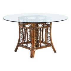 Vintage Bohemian Rattan Dining Table with Round Glass