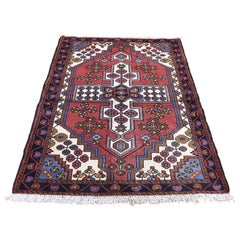 Vintage Bohemian Red Persian Hamadan Pure Wool Hand Knotted Oriental Rug