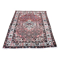 Vintage Bohimian Persian Hussainabad Ivory Pure Wool Hand Knotted Oriental Rug