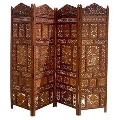 "Vintage Boho 4 Panel Indian Teak Wood ""Angure Ka Parre"" Screen"