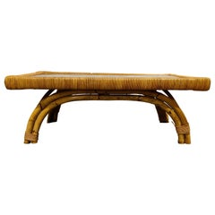 Vintage Boho Bamboo and Ceramic Coffee Table, 1960s