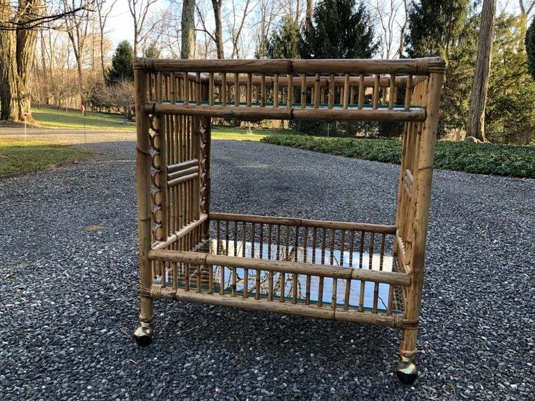 Mid-Century Modern Vintage Boho Chic Bamboo Bar Cart For Sale