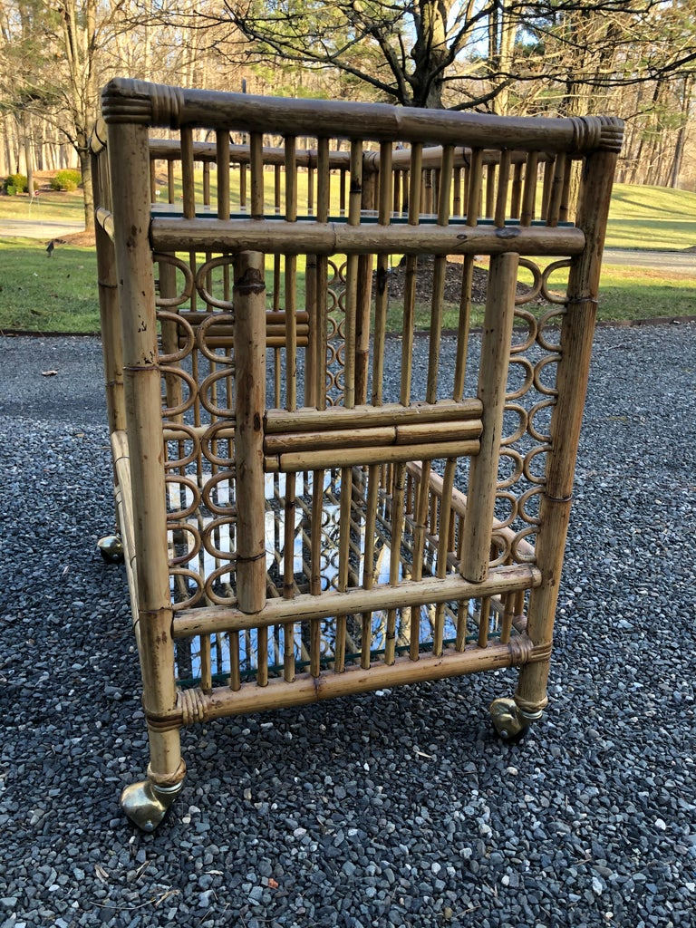 North American Vintage Boho Chic Bamboo Bar Cart For Sale