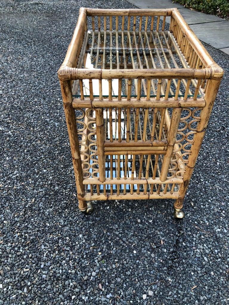 Vintage Boho Chic Bamboo Bar Cart For Sale 1