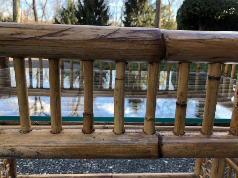 Vintage Boho Chic Bamboo Bar Cart For Sale 3