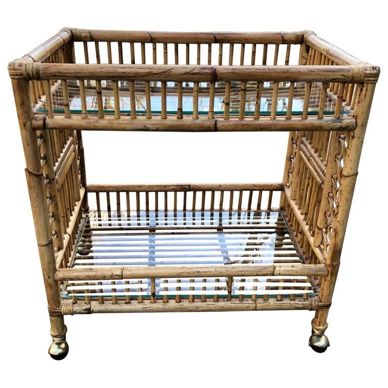 Vintage Boho Chic Bamboo Bar Cart For Sale