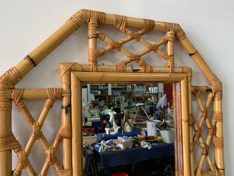 European Vintage Boho Chic Bamboo Mirror in Chinese Chippendale Style For Sale
