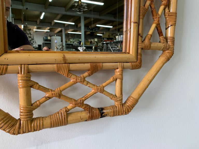 Vintage Boho Chic Bamboo Mirror in Chinese Chippendale Style In Good Condition For Sale In East Hampton, NY