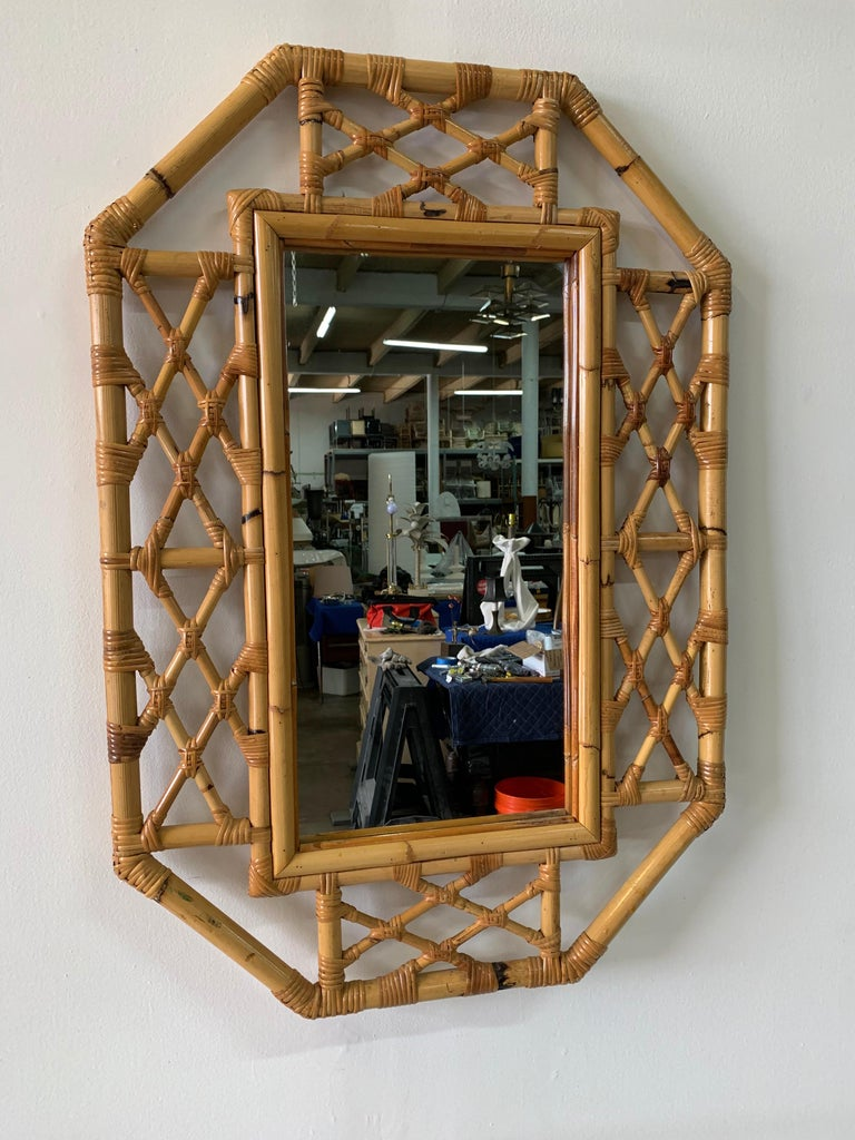 Mid-20th Century Vintage Boho Chic Bamboo Mirror in Chinese Chippendale Style For Sale