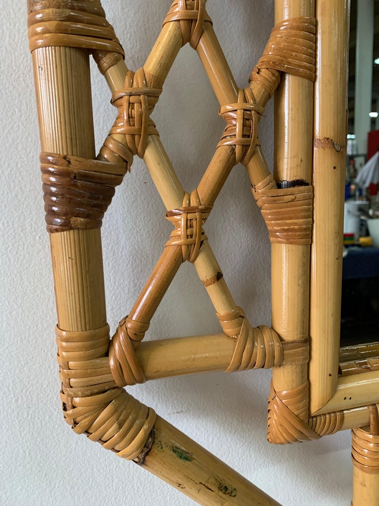 Vintage Boho Chic Bamboo Mirror in Chinese Chippendale Style For Sale 1