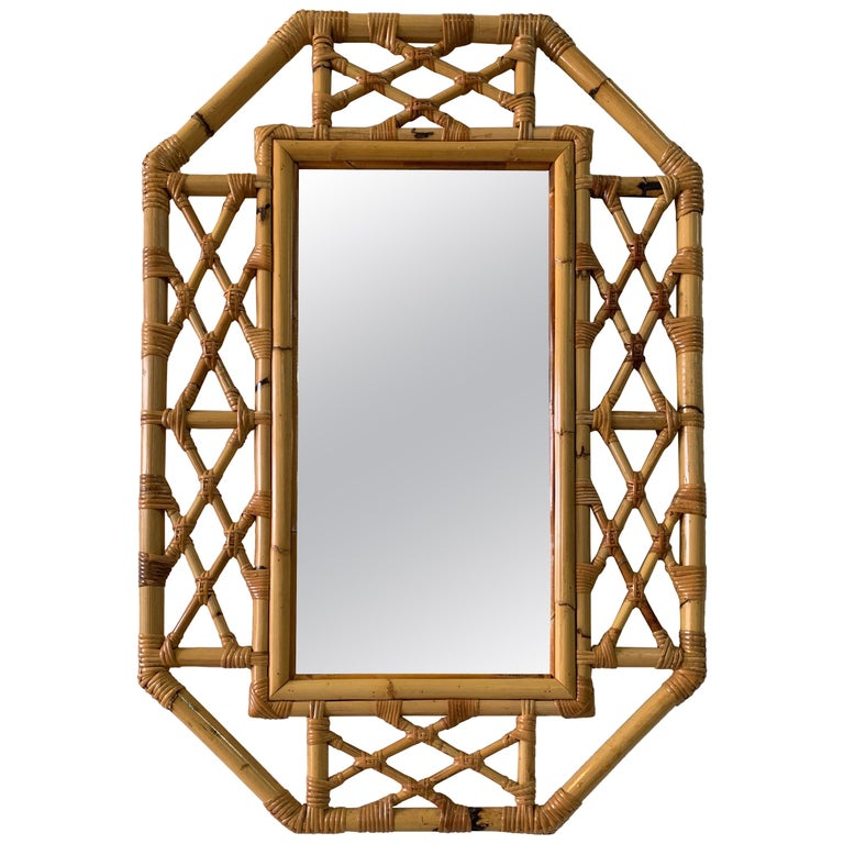 Vintage Boho Chic Bamboo Mirror in Chinese Chippendale Style For Sale