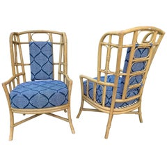 Vintage Boho Chic Bamboo Wingback Armchairs, Pair