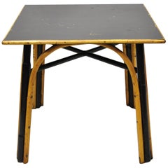 Vintage Boho Chic Bentwood Bamboo Square Card Game Table Wicker Dining Table
