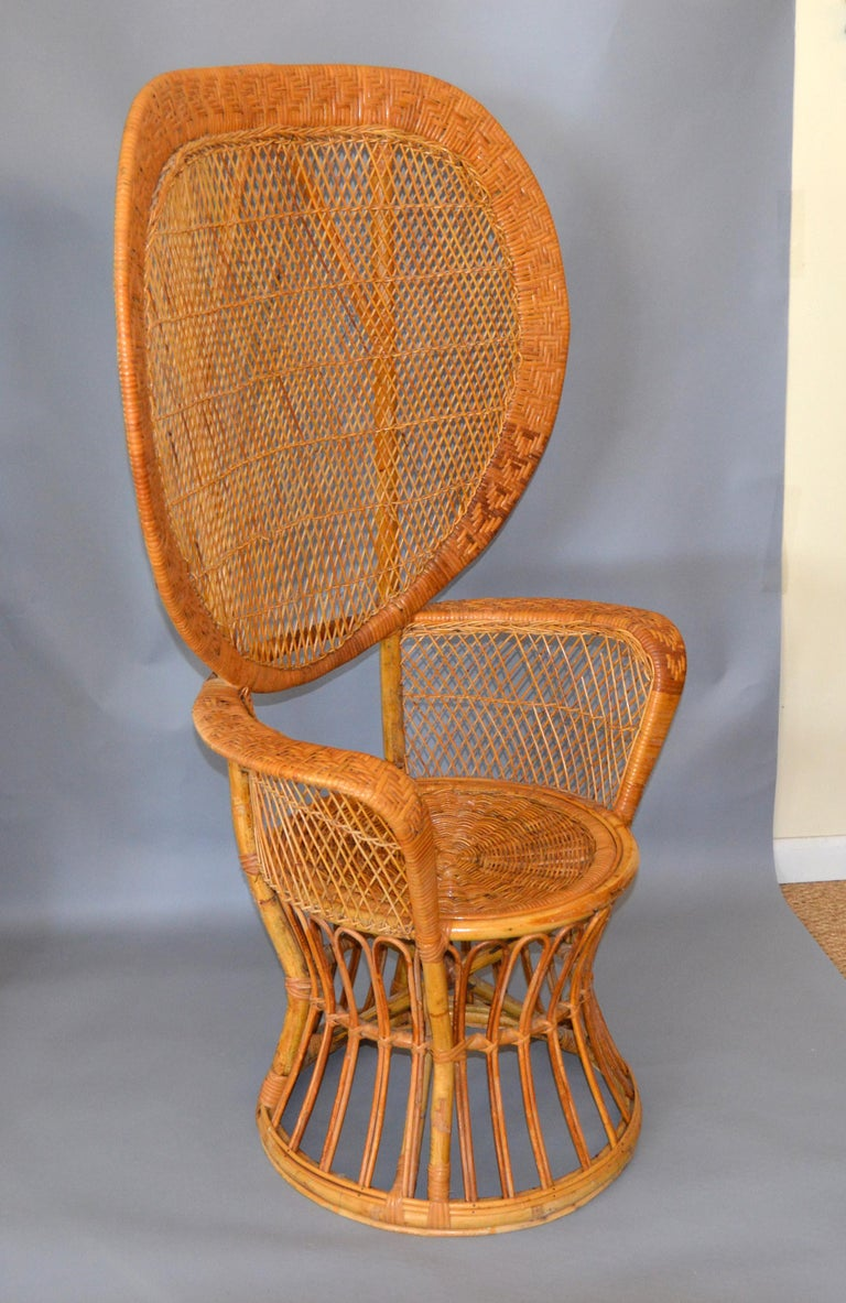 Vintage Boho Chic Handcrafted Wicker Rattan And Reed Peacock High Back Chair For Sale At 1stdibs