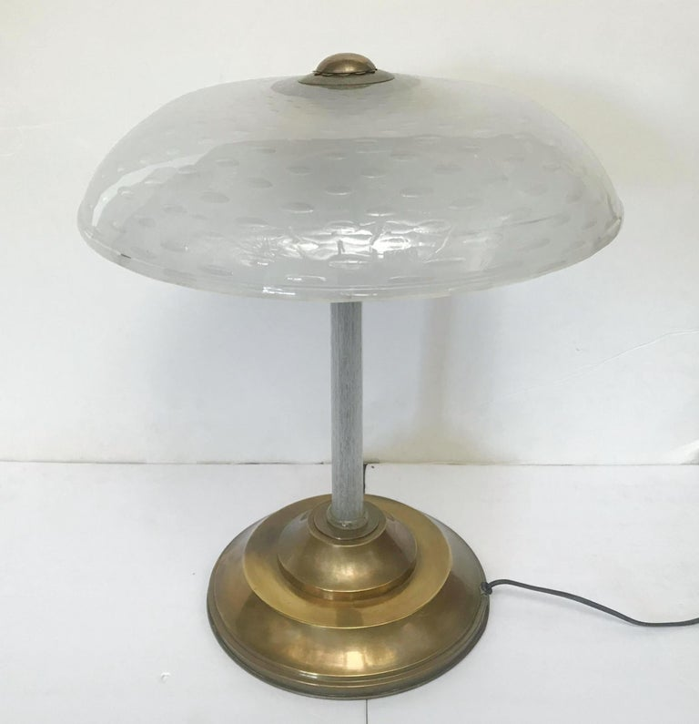 Vintage Bollicine Technique Table Lamp w/ Hand Blown Murano Glass, Italy, 1960s In Good Condition For Sale In Los Angeles, CA