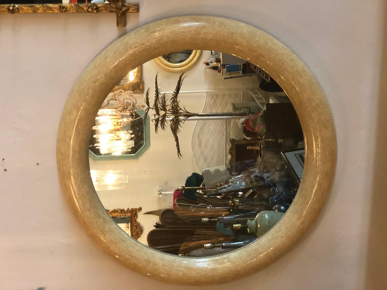 """Vintage antler bone console table and round mirror with brass accents. Brass was left original and not polished but can be if desired. Mirror is 48"""" diameter x 3"""" deep."""