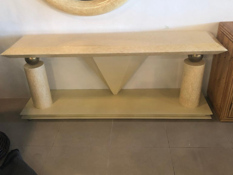 Hollywood Regency Vintage Bone and Brass Console Table and Round Mirror Style of Enrique Garcel For Sale