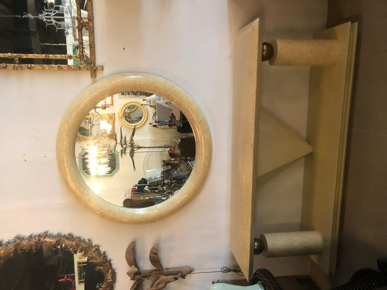 Colombian Vintage Bone and Brass Console Table and Round Mirror Style of Enrique Garcel For Sale