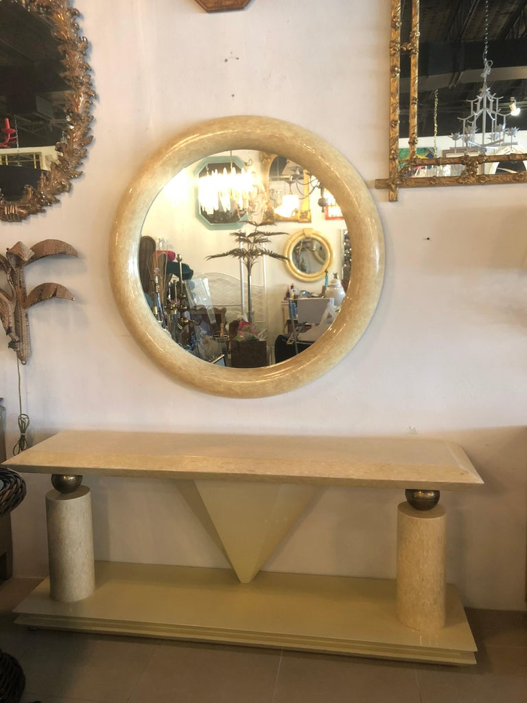 Vintage Bone and Brass Console Table and Round Mirror Style of Enrique Garcel In Good Condition For Sale In West Palm Beach, FL