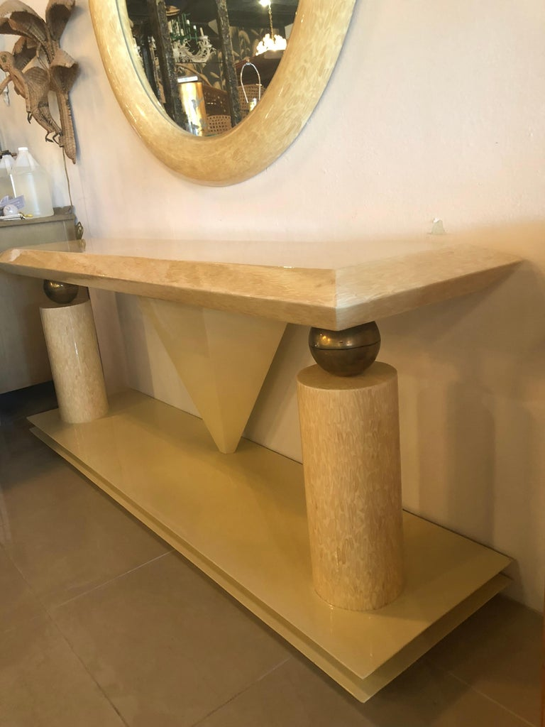 Late 20th Century Vintage Bone and Brass Console Table and Round Mirror Style of Enrique Garcel For Sale