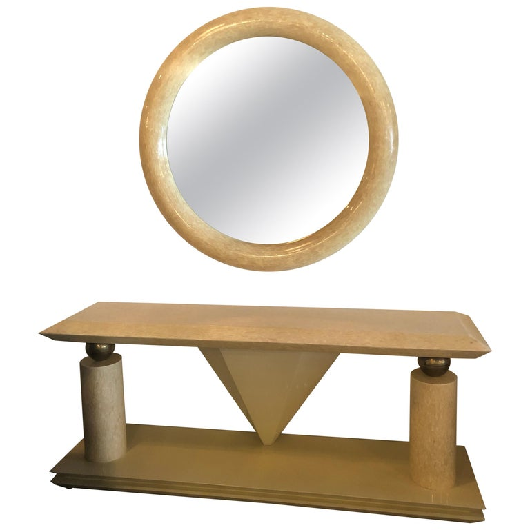 Vintage Bone and Brass Console Table and Round Mirror Style of Enrique Garcel For Sale