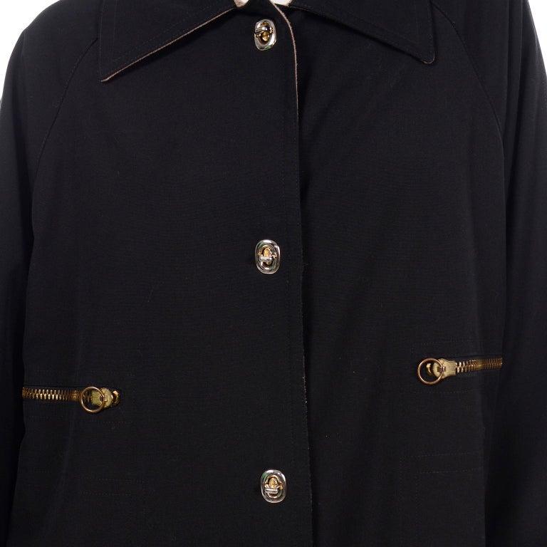 Vintage Bonnie Cashin All Black Coat with Cashmere Blend Lining For Sale 7