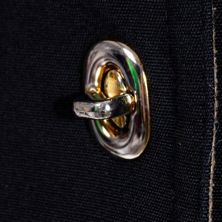 Vintage Bonnie Cashin All Black Coat with Cashmere Blend Lining For Sale 8