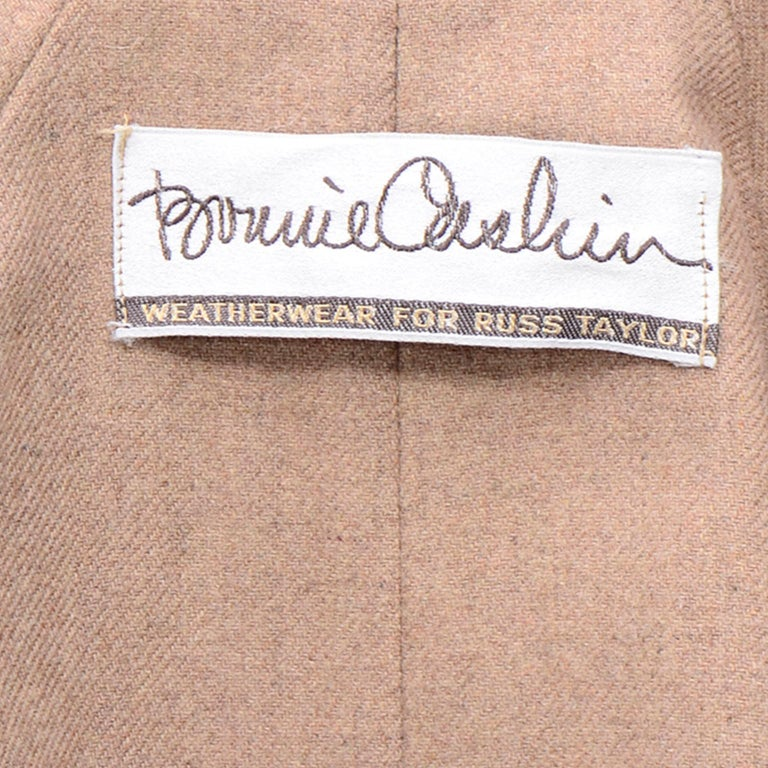 Vintage Bonnie Cashin All Black Coat with Cashmere Blend Lining For Sale 9