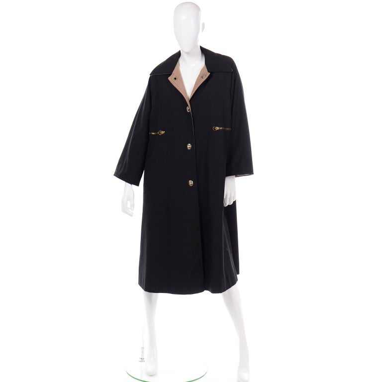 Vintage Bonnie Cashin All Black Coat with Cashmere Blend Lining In Excellent Condition For Sale In Portland, OR