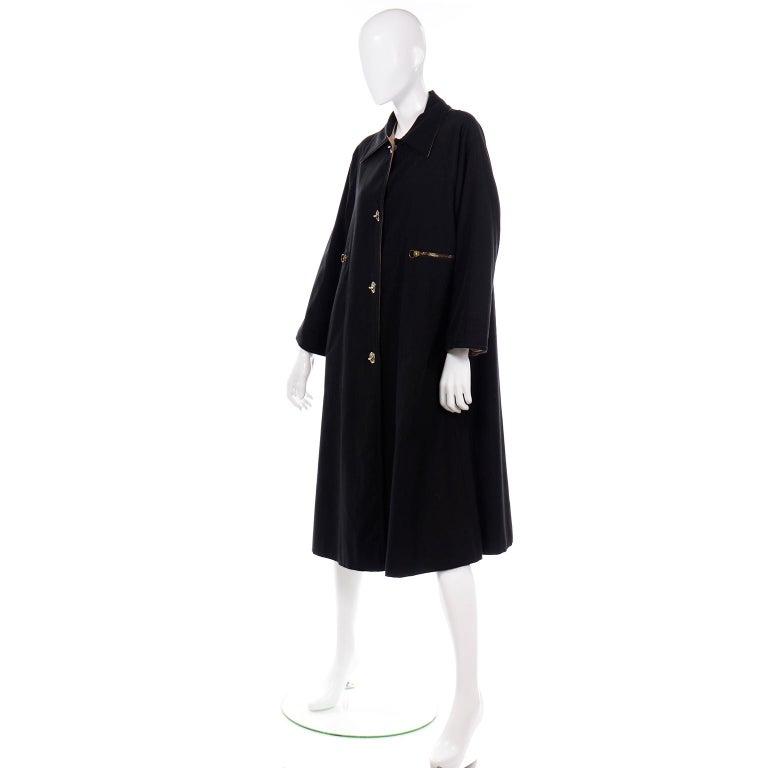 Women's Vintage Bonnie Cashin All Black Coat with Cashmere Blend Lining For Sale