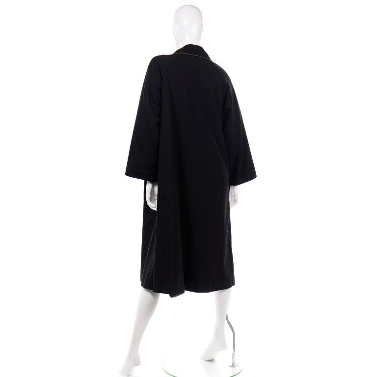 Vintage Bonnie Cashin All Black Coat with Cashmere Blend Lining For Sale 1