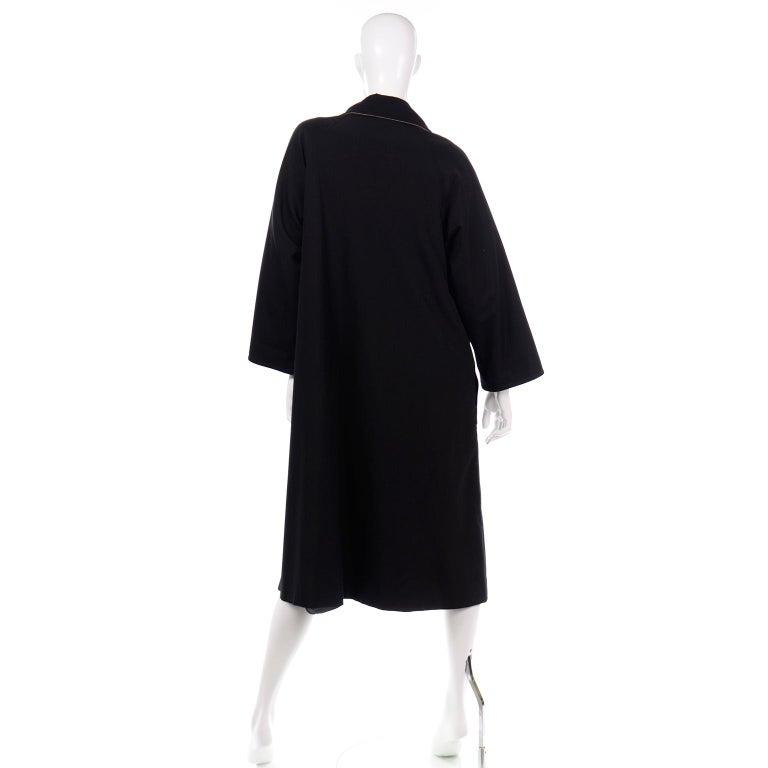 Vintage Bonnie Cashin All Black Coat with Cashmere Blend Lining For Sale 2