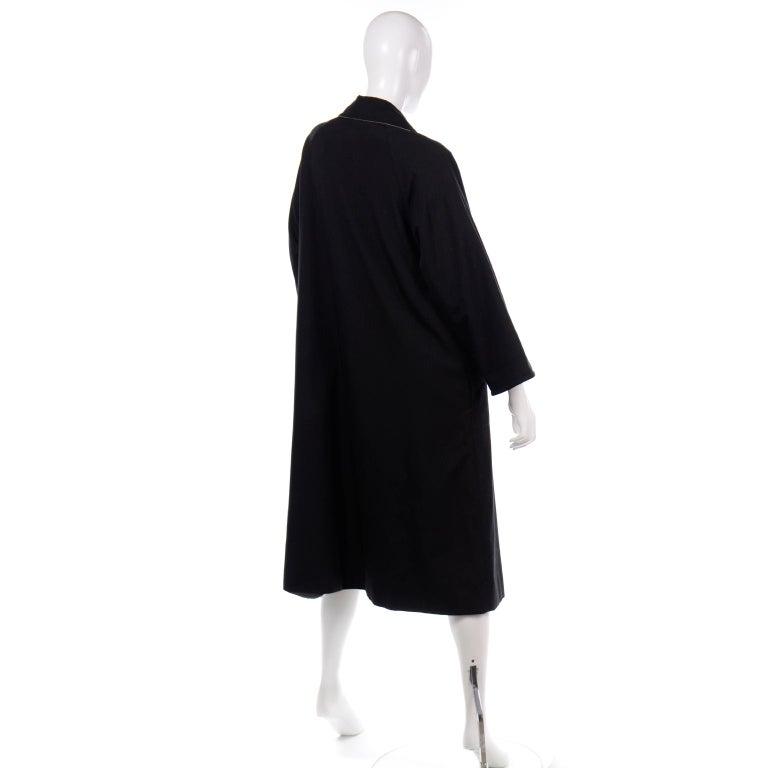 Vintage Bonnie Cashin All Black Coat with Cashmere Blend Lining For Sale 3