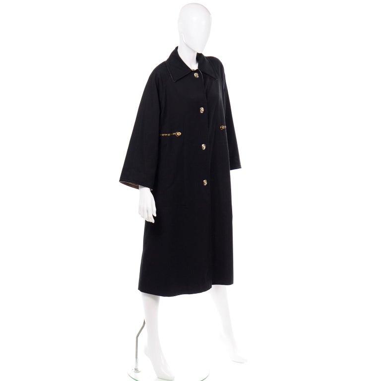 Vintage Bonnie Cashin All Black Coat with Cashmere Blend Lining For Sale 4