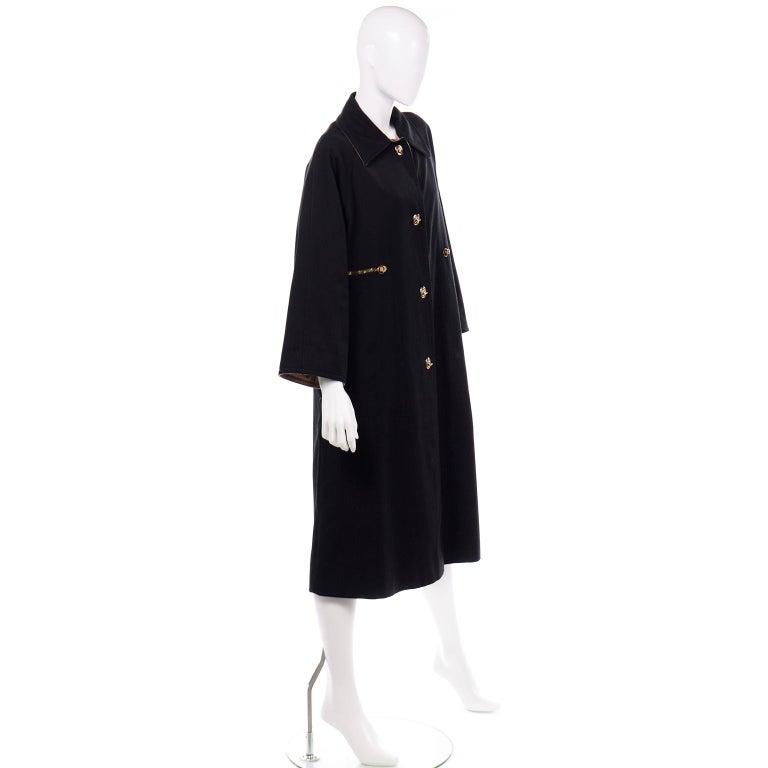 Vintage Bonnie Cashin All Black Coat with Cashmere Blend Lining For Sale 5
