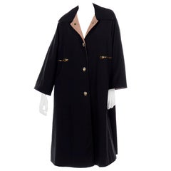 Vintage Bonnie Cashin All Black Coat with Cashmere Blend Lining
