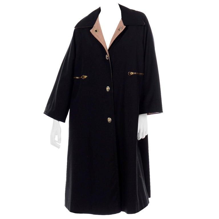 Vintage Bonnie Cashin All Black Coat with Cashmere Blend Lining For Sale
