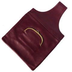 Vintage Bonnie Cashin Burgundy Leather Sling Bag Tote Basket Weave Pocket Rare