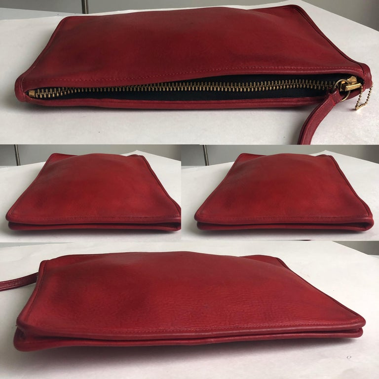 Vintage Bonnie Cashin for Coach Large Slim Clutch Bag Red Leather NYC 70s  In Good Condition For Sale In Port Saint Lucie, FL