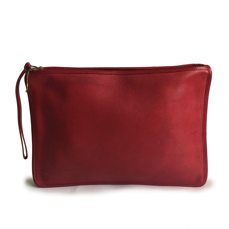 Vintage Bonnie Cashin for Coach Large Slim Clutch Bag Red Leather NYC 70s  For Sale 1