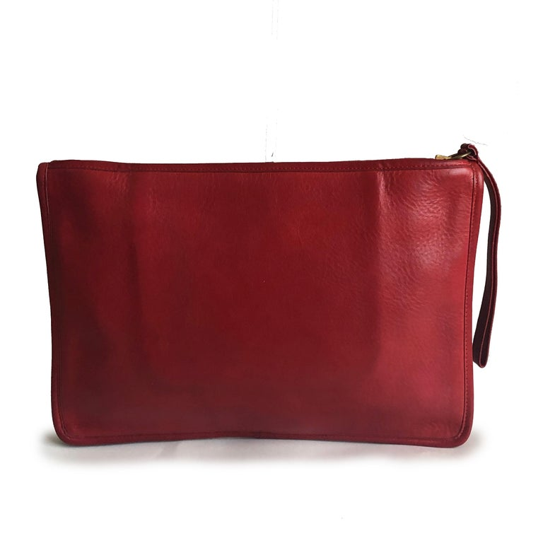 Vintage Bonnie Cashin for Coach Large Slim Clutch Bag Red Leather NYC 70s  For Sale 2