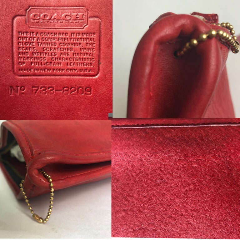 Vintage Bonnie Cashin for Coach Large Slim Clutch Bag Red Leather NYC 70s  For Sale 4