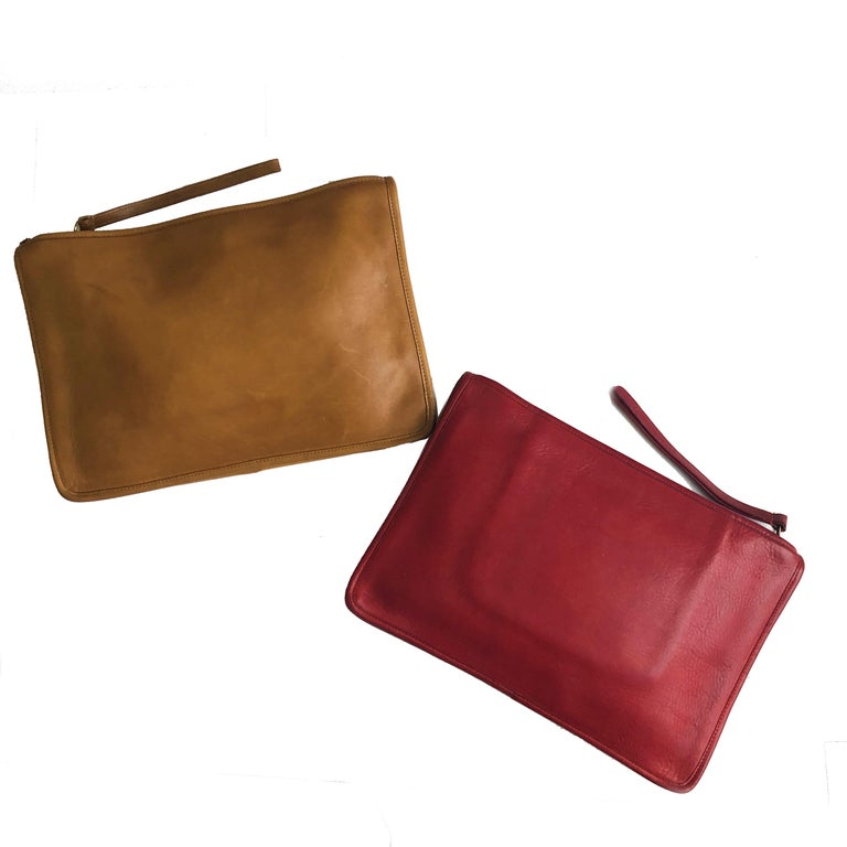 Vintage Bonnie Cashin for Coach Large Slim Clutch Bag Red Leather NYC 70s  For Sale 5