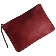 Vintage Bonnie Cashin for Coach Large Slim Clutch Bag Red Leather NYC 70s