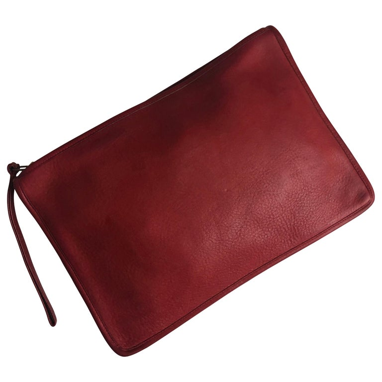 Vintage Bonnie Cashin for Coach Large Slim Clutch Bag Red Leather NYC 70s  For Sale